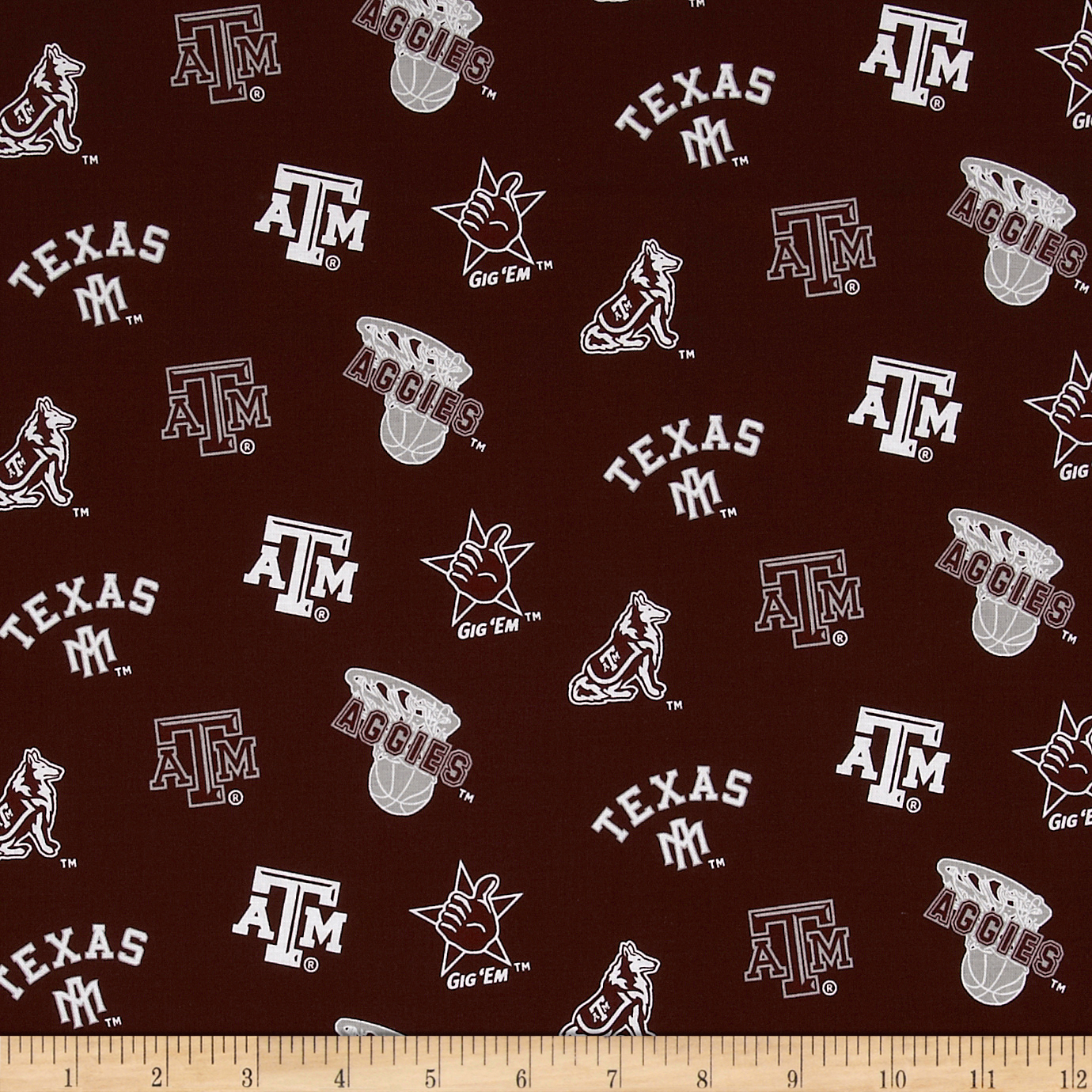 Collegiate Cotton Broadcloth Texas A&M Maroon Fabric