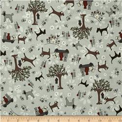 Time with Friends Dogs & Cats Blue Fabric