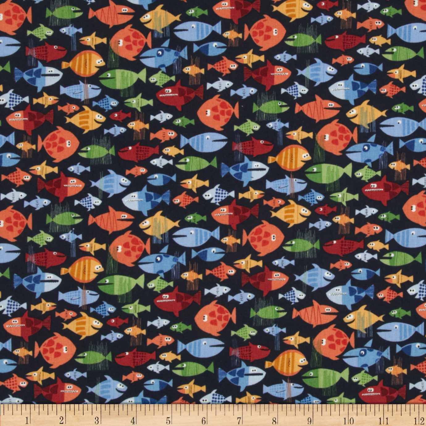 Pirates Fish Navy Fabric