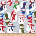 Flannel Tossed Large Snowmen Grey