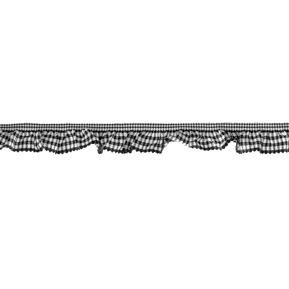 "3/4"" Stretch Gathered Gingham Trim Black"