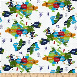 Kokka World Map Countries White Fabric