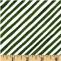 Gingerbread Christmas Diagonal Stripe Green