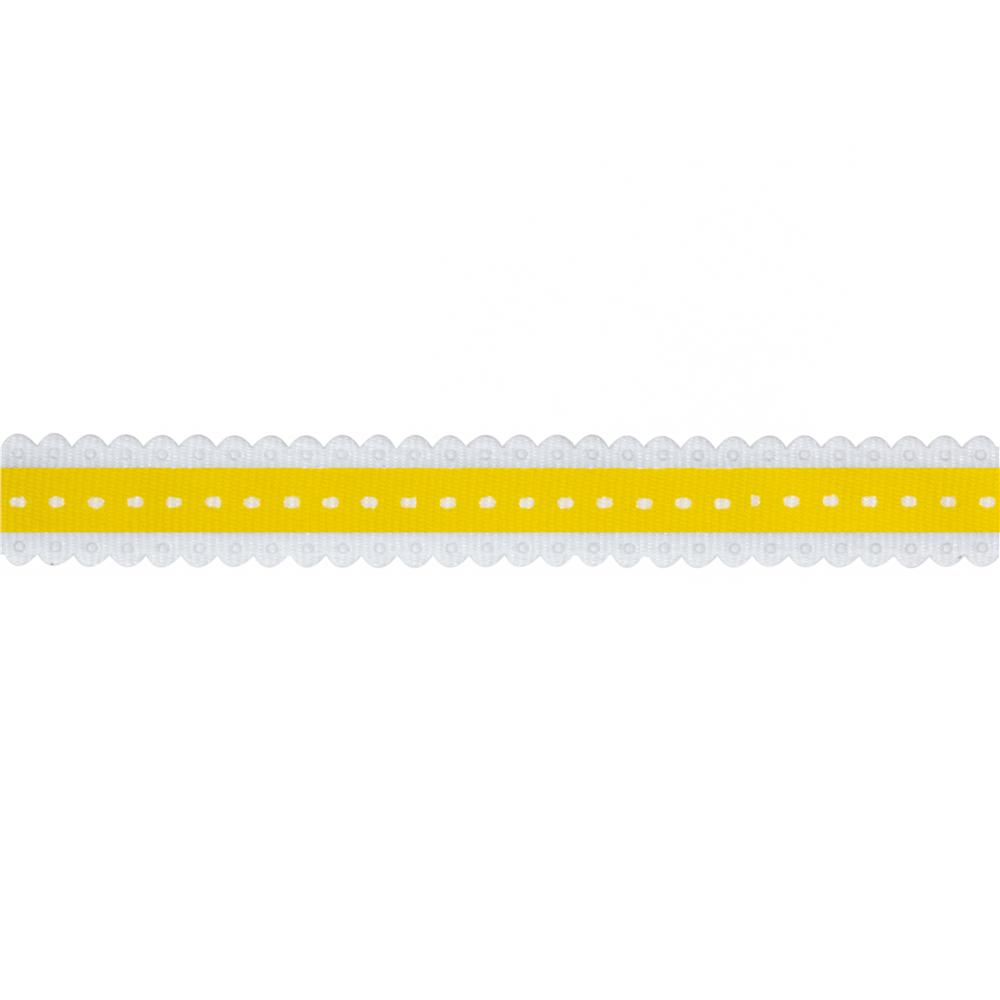 1/2'' Printed Scallop Grosgrain Ribbon Yellow