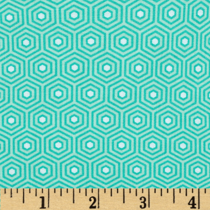 Riley Blake Lazy Day Hexagon Teal Fabric