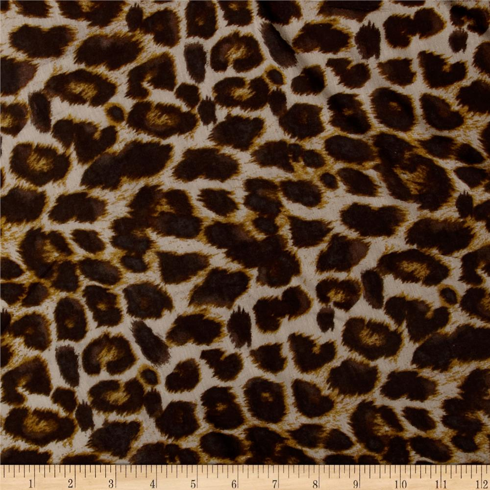 Stretch Rayon Jersey Knit Cheetah Print Brown/Tan