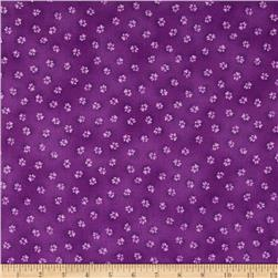 Laurel Burch Dogs & Doggies Paw Prints Dark Purple