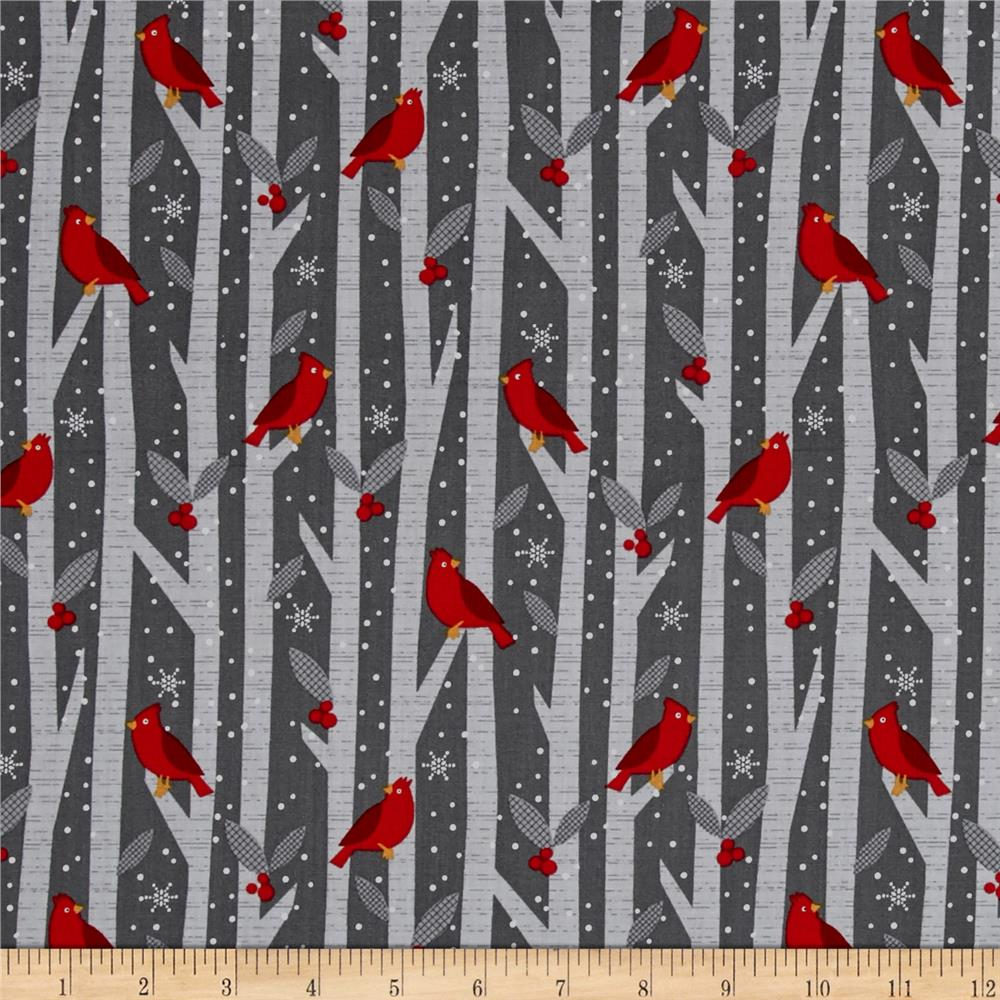 Alpine Cardinals In Trees Dark Gray