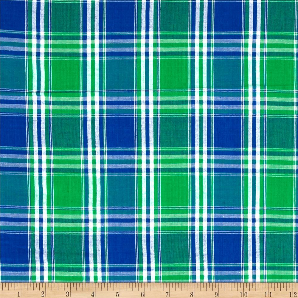 Seersucker Large Plaid Blue/Green/White Fabric By The Yard