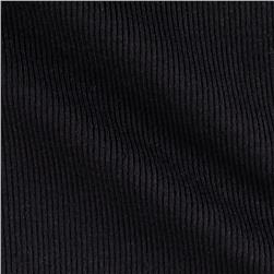 Stretch Bamboo Rayon Rib Knit Solid Black Fabric