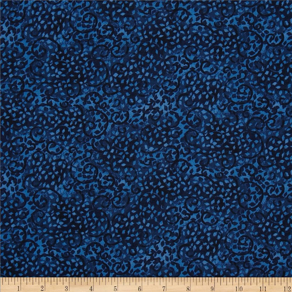 "108"" Wide Leafy Scroll Navy"