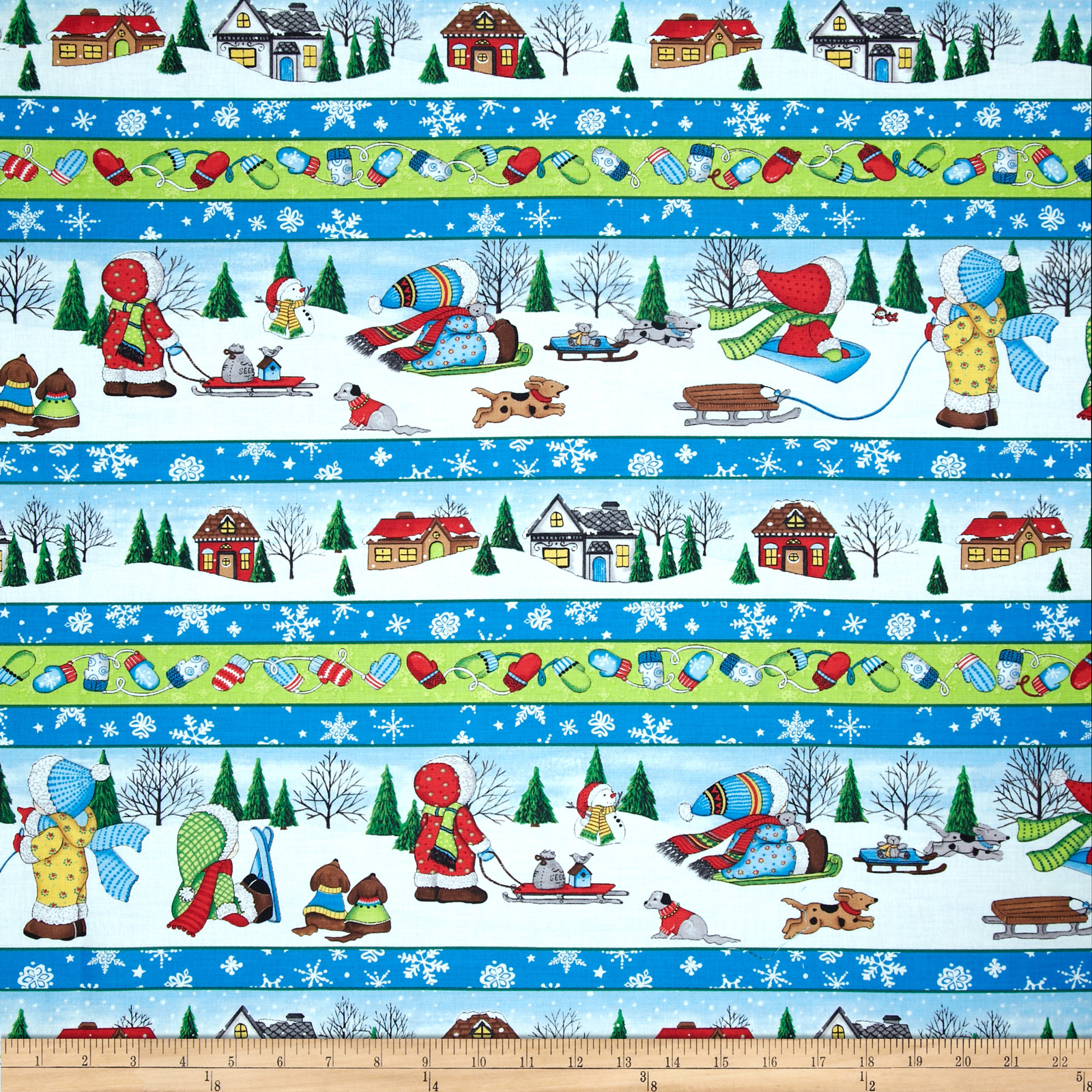 Snow Babies Repeating Stripe Blue/Multi
