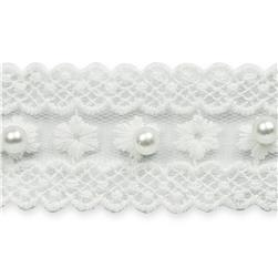 "1 1/4"" Vintage Flower Lace with Pearl Trim White"