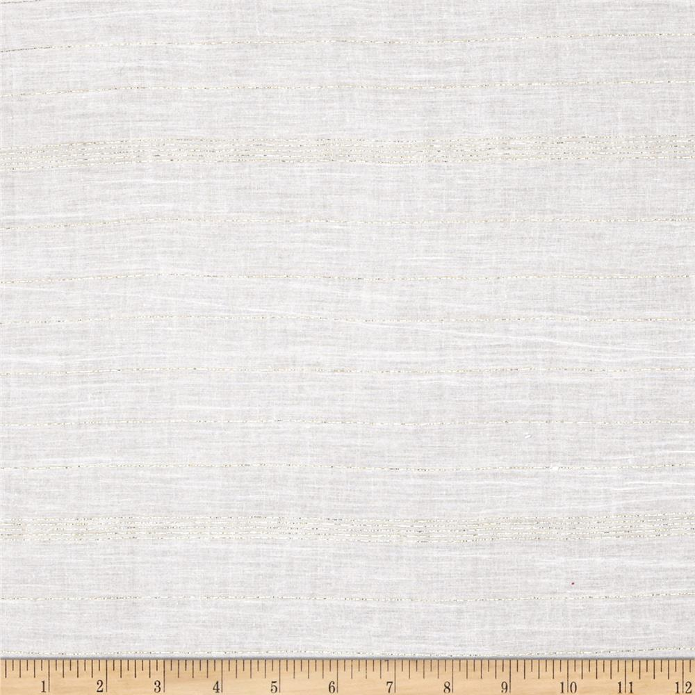 Cotton Sparkle Voile Stripes White/Gold