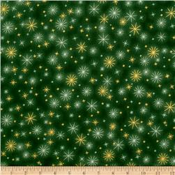 Kaufman Winter Grandeur Metallic Twinkle Evergreen