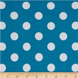 Forever Large Polka Dot Turquoise Fabric