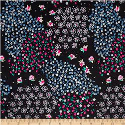 Cotton Lycra Twill Print Ditzy Floral Black