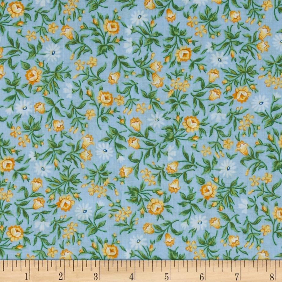 Small Rustic Floral Blue/Yellow/Green