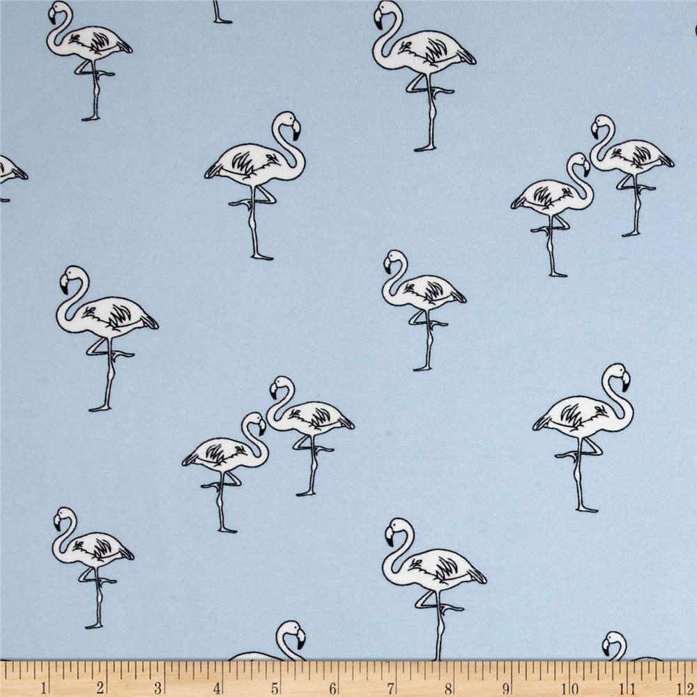 Double Brushed Poly Spandex Jersey Knit Flamingo Dusty Blue/White Fabric