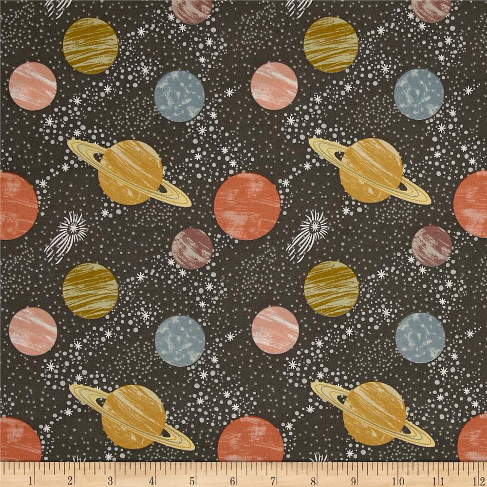 To the moon back planets dark grey discount designer for Planet print fabric