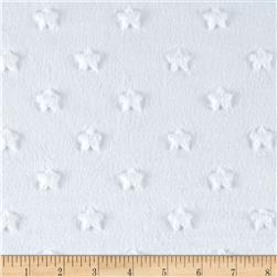Minky Star Dot White