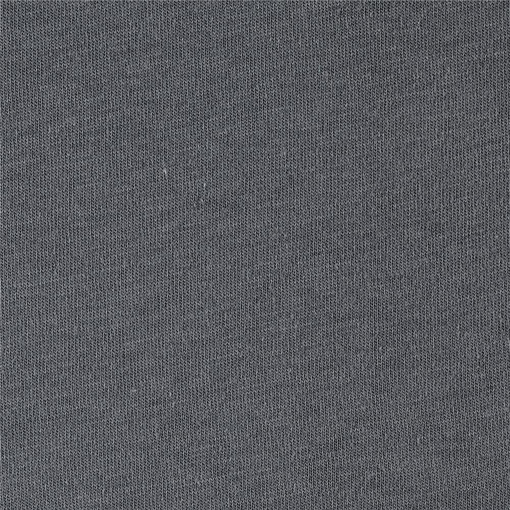 Cotton Jersey Knit Solid Charcoal Grey