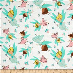 Flannel Tossed Fairies White Fabric