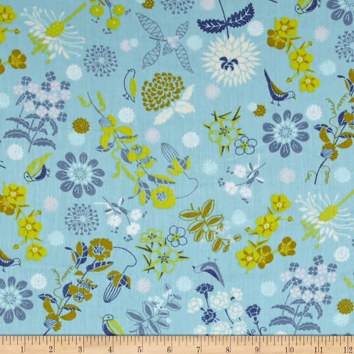 Isso Ecco & Heart Cotton Lawn Botanical Blue