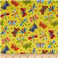 Comfy Flannel Prints Butterflies And Dragonflies Yellow