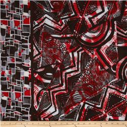Rayon Challis Abstract Red/Brown
