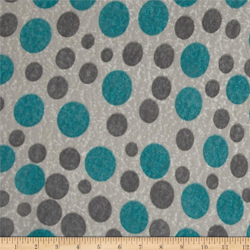 Lightweight Sweater Knit Polka Dots Turquoise/Gray