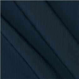 Lyric Wide Crinkle Polyester Shirting Navy Steel Fabric