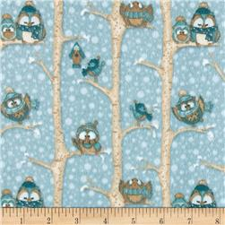 Wise One Flannel Owls in Trees Blue