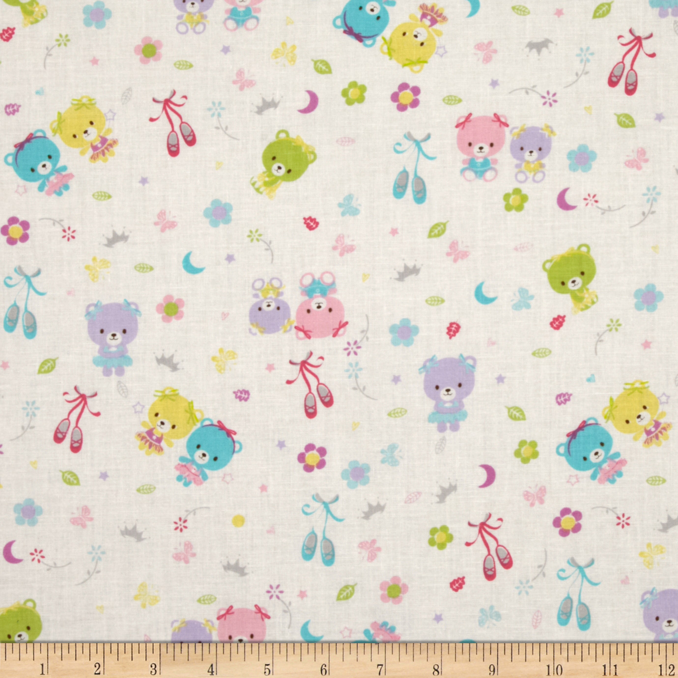 Baby Talk Bears & Ballet Slippers Pink Fabric