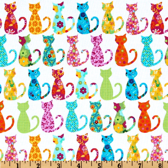 Michael Miller Happy Hills Calico Cat White Fabric