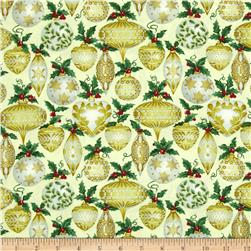 Father Frost Metallic Ornament Cream/Gold Fabric