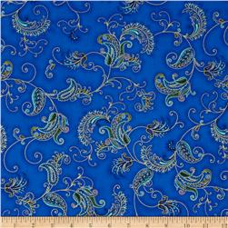 Timeless Treasures Metallic Royalty Tossed Paisley Feather Blue