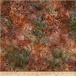 Batavian Batiks Scrolly Leaves Rust Multi