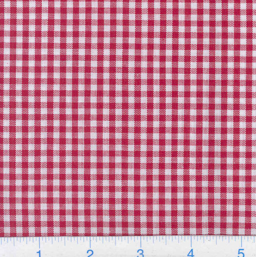 Kaufman 1/8'' Carolina Gingham Red Fabric