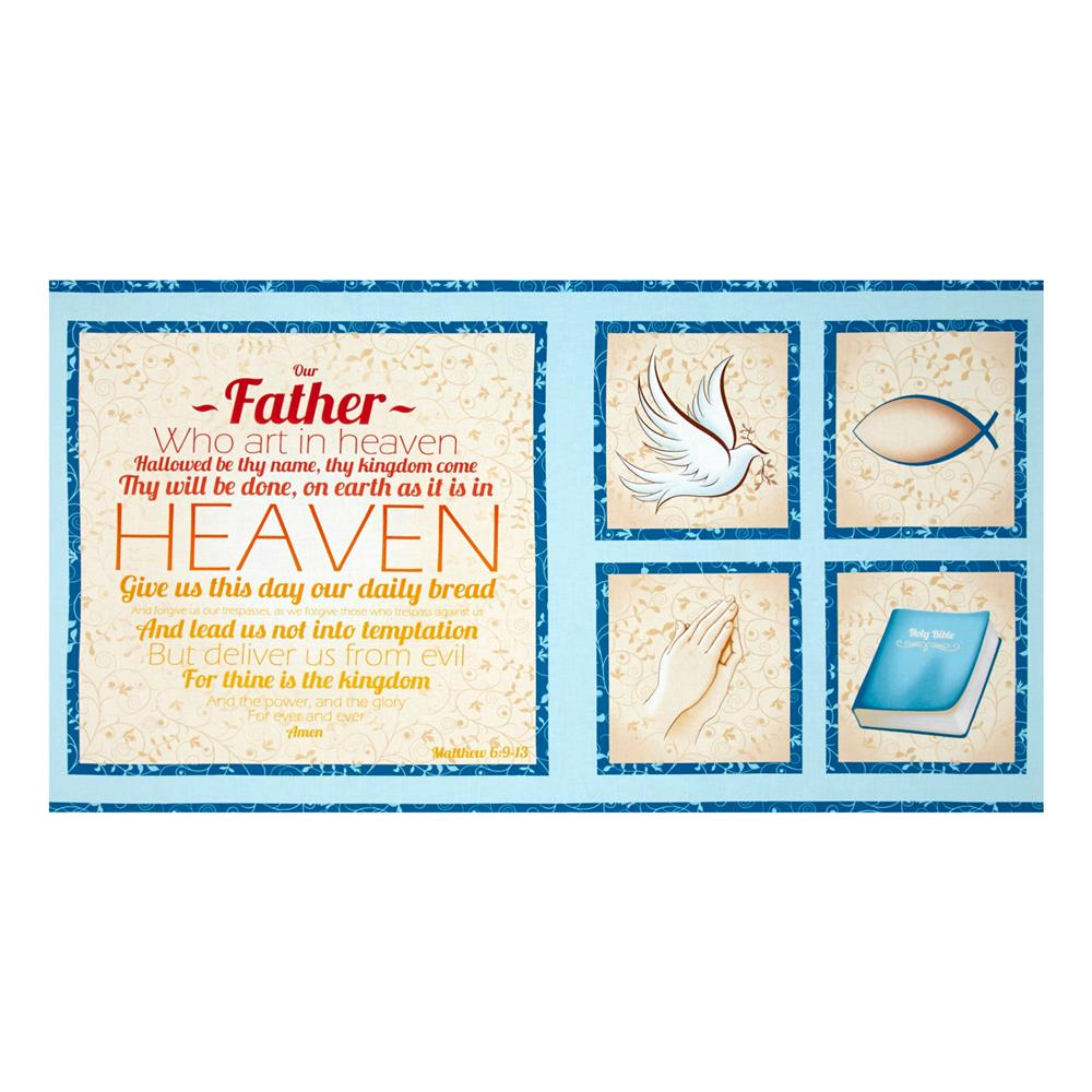 Our Father Panel Blue Fabric By The Yard