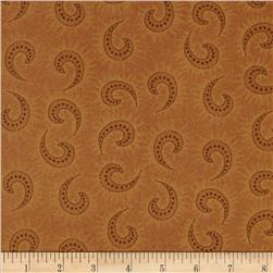 Heritage Hollow Star Paisley Orange Fabric