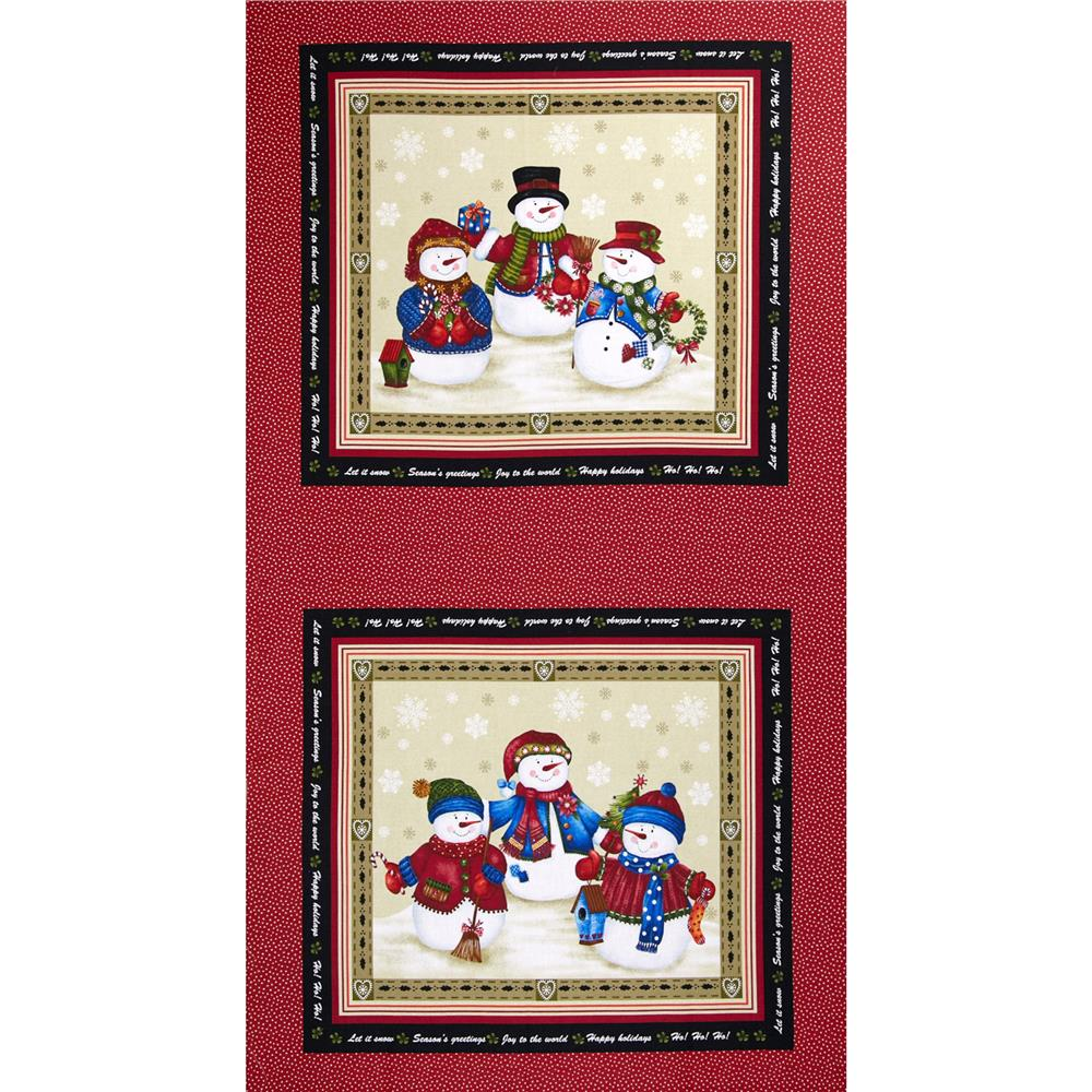 """Winter Wishes Snowman 24"""" Panel Taupe/Red"""