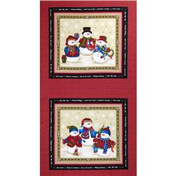 "Winter Wishes Snowman 24"" Panel Taupe/Red"