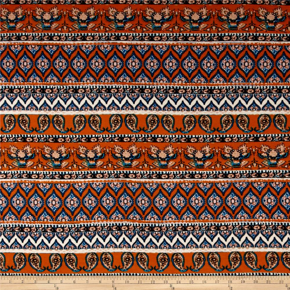 Rayon Jersey Knit Downward Twin Paisleys - Carrot Orange