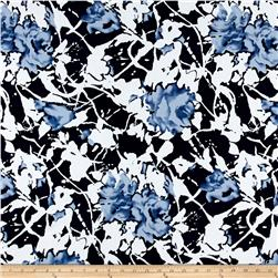 Venice Stretch ITY Knit Floral Print Blue