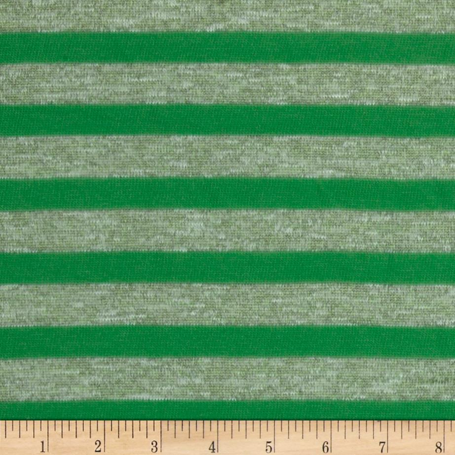 Stretch Yarn Dyed Hatchi Knit Stripes Green