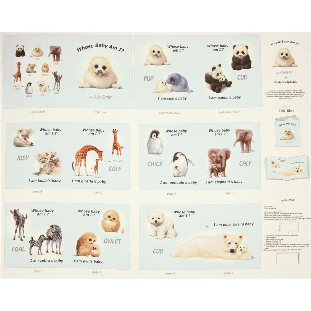 Animal Friends Soft Book Panel Blue Fabric By The Yard