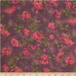 Cotton Lawn Prints Floral Plum/Rose