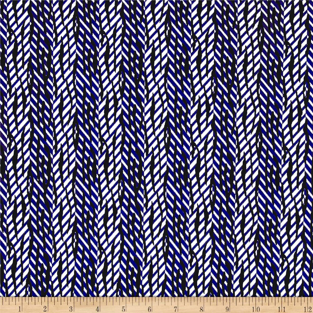 ITY Stretch Knit Abstract Stripe Black/Blue/White