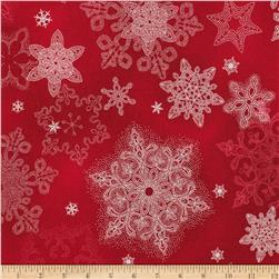 Kaufman Holiday Flourish Metallic Snowflakes Scarlet